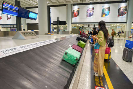 HONG KONG - CIRCA NOVEMBER, 2016: baggage claim area in Hong Kong International Airport. It is the main airport in Hong Kong. The airport is located on the island of Chek Lap Kok