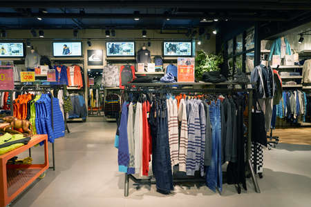 HONG KONG - CIRCA NOVEMBER, 2016: inside Quiksilver store in Hong Kong. Quiksilver, Inc. is an American retail sporting company Editorial