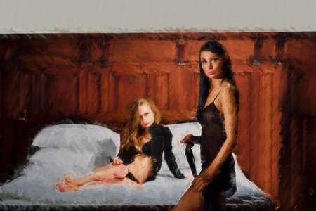 黒リネンや寝室での二人の女性。 写真素材