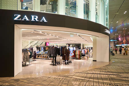 SINGAPORE - CIRCA AUGUST, 2016: Zara store at Singapore Changi Airport. Changi Airport is one of the largest transportation hubs in Southeast Asia. Editorial