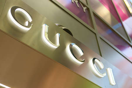 SINGAPORE - CIRCA SEPTEMBER, 2016: close up shot of Gucci sign at Singapore Changi Airport. Changi Airport is one of the largest transportation hubs in Southeast Asia.