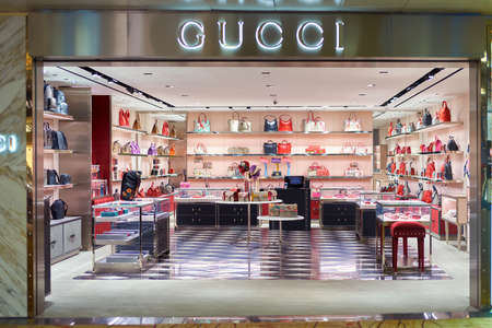 SINGAPORE - CIRCA SEPTEMBER, 2016: Gucci store at Singapore Changi Airport. Changi Airport is one of the largest transportation hubs in Southeast Asia.