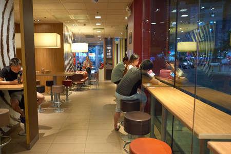 SHENZHEN, CHINA - CIRCA OCTOBER, 2015: inside McDonalds restaurant. McDonalds is an American hamburger and fast food restaurant chain. Editorial