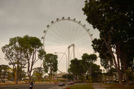 SINGAPORE - CIRCA NOVEMBER, 2015: view of Singapore Flyer in the evening. The Singapore Flyer is a giant Ferris wheel.