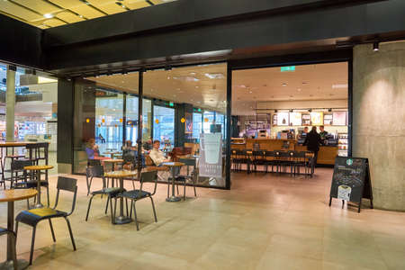 SAINT PETERSBURG, RUSSIA - CIRCA APRIL, 2017: Starbucks coffee shop at Pulkovo Airport. Starbucks Corporation is an American coffee company and coffeehouse chain.