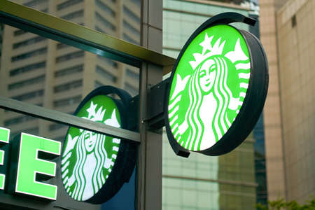 SEOUL, SOUTH KOREA - CIRCA JUNE, 2017: sign at a Starbucks in Seoul. Starbucks Corporation is an American coffee company and coffeehouse chain. Editorial