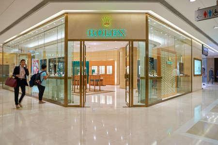 HONG KONG - CIRCA SEPTEMBER, 2016: Rolex store at a shopping center in Hong Kong. Shopping is a widely popular social activity in Hong Kong. Editorial
