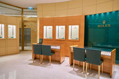 HONG KONG - CIRCA SEPTEMBER, 2016: Rolex store at a shopping center in Hong Kong. Shopping is a widely popular social activity in Hong Kong. Editorial