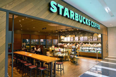 SEOUL, SOUTH KOREA - CIRCA MAY, 2017: Starbucks coffee shop in Seoul. Starbucks Corporation is an American coffee company and coffeehouse chain. Editorial