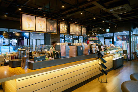 SEOUL, SOUTH KOREA - CIRCA MAY, 2017: inside Starbucks in Seoul. Starbucks Corporation is an American coffee company and coffeehouse chain. Editorial