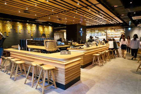SEOUL, SOUTH KOREA - CIRCA MAY, 2017: inside Starbucks in Seoul. Starbucks Corporation is an American coffee company and coffeehouse chain. Editorial