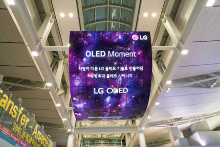 INCHEON, SOUTH KOREA - CIRCA JUNE, 2017: OLED digital signage display at the Incheon International Airport. Editorial