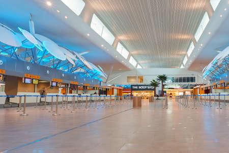 KUALA LUMPUR, MALAYSIA - CIRCA MAY, 2014: check-in area at low-cost carrier terminal at Kuala Lumpur International Airport.