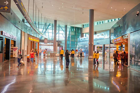 KUALA LUMPUR, MALAYSIA - CIRCA MAY, 2014: inside low-cost carrier terminal at Kuala Lumpur International Airport. KLIA is Malaysias main international airport and one of the major airports in South East Asia.
