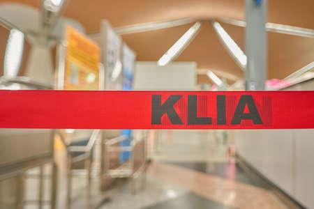 KUALA LUMPUR, MALAYSIA - CIRCA MAY, 2014: close up shot of KLIA sing at Kuala Lumpur International Airport. KLIA is Malaysias main international airport and one of the major airports in South East Asia.