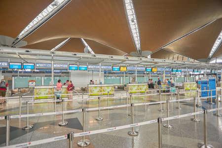 KUALA LUMPUR, MALAYSIA - CIRCA MAY, 2014: check in area at Kuala Lumpur International Airport. KLIA is Malaysias main international airport and one of the major airports in South East Asia.