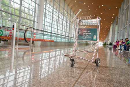 KUALA LUMPUR, MALAYSIA - CIRCA MAY, 2014: trolley at Kuala Lumpur International Airport. KLIA is Malaysias main international airport and one of the major airports in South East Asia. Editorial