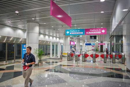 KUALA LUMPUR, MALAYSIA - CIRCA MAY, 2014: KLIA ERL Station. The KLIA ERL station is located at Level 1 of the Kuala Lumpur International Airports Main Terminal Building. Editorial