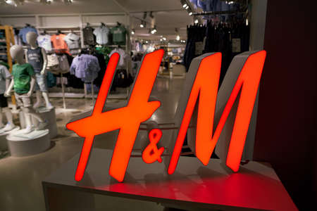 SEOUL, SOUTH KOREA - CIRCA MAY, 2017: close up shot of H and M sign. H & M Hennes & Mauritz AB is a Swedish multinational clothing-retail company