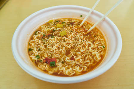 Close up shot of plate with instant noodles at a convenience store in Seoul. Sajtókép