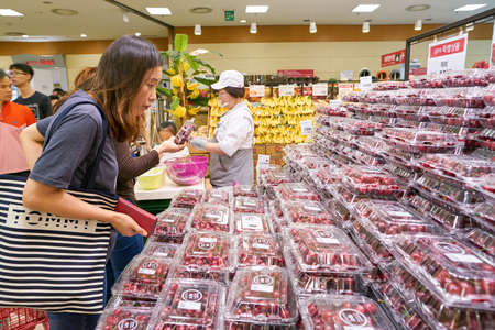 SEOUL, SOUTH KOREA - CIRCA MAY, 2017: food on display at Lotte Mart in Seoul. Lotte Mart is an east Asian hypermarket that sells a variety of groceries, clothing, toys, electronics, and other goods. Editöryel