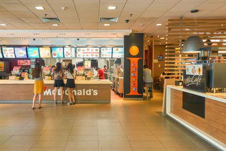 SHENZHEN, CHINA - CIRCA OCTOBER, 2015: inside McDonalds restaurant in Shenzhen. McDonalds is an American hamburger and fast food restaurant chain.