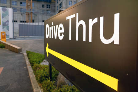 BUSAN, SOUTH KOREA - CIRCA MAY, 2017: Drive Thru sign at McDonalds. A drive-thru is a type of service provided by a business that allows customers to purchase products without leaving their cars.