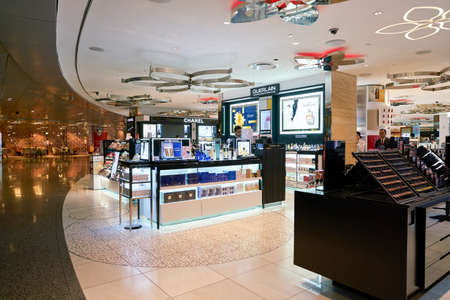 DOHA, QATAR - CIRCA MAY, 2017: goods on display at Hamad International Airport of Doha, the capital city of Qatar. Editorial