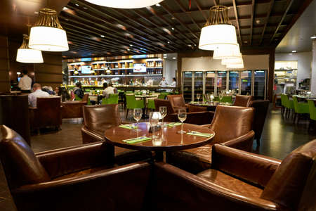 DOHA, QATAR - CIRCA MAY, 2017: inside Le Grand Comptoir at Hamad International Airport of Doha. Le Grand Comptoir is a classy brasserie style restaurant.