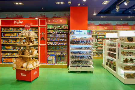 SAINT PETERSBURG, RUSSIA - CIRCA OCTOBER, 2017: inside a Hamleys toy store in St. Petersburg. Hamleys is the oldest and largest toy shop in the world and one of the world's best-known retailers of toys. 에디토리얼