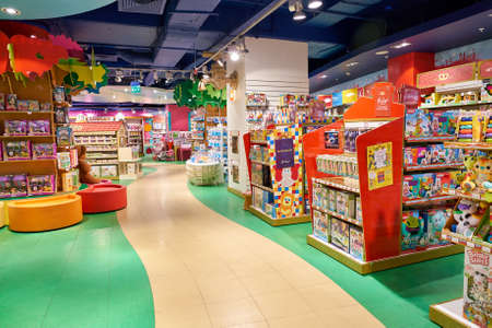SAINT PETERSBURG, RUSSIA - CIRCA OCTOBER, 2017: inside a Hamleys toy store in St. Petersburg. Hamleys is the oldest and largest toy shop in the world and one of the world's best-known retailers of toys. Publikacyjne