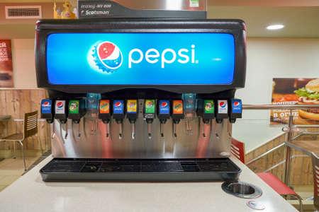 SAINT PETERSBURG - CIRCA OCTOBER, 2017: beverage soda fountain system at Burger King restaurant. Burger King is an American global chain of hamburger fast food restaurants.