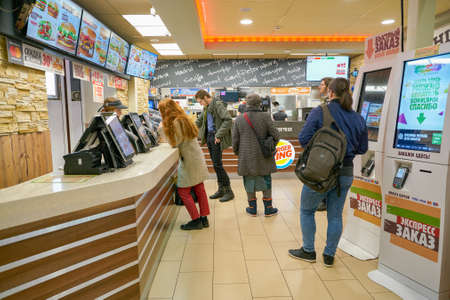 SAINT PETERSBURG - CIRCA OCTOBER, 2017: inside Burger King restaurant. Burger King is an American global chain of hamburger fast food restaurants.
