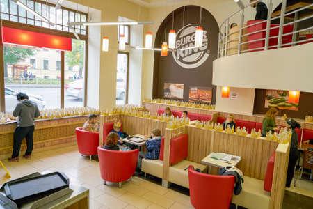 SAINT PETERSBURG, RUSSIA - CIRCA SEPTEMBER, 2017:  inside Burger King restaurant. Burger King is an American global chain of hamburger fast food restaurants.