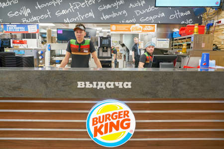 SAINT PETERSBURG - CIRCA OCTOBER, 2017: inside Burger King restaurant. Burger King is an American global chain of hamburger fast food restaurants. Editorial