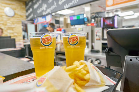 SAINT PETERSBURG - CIRCA OCTOBER, 2017: beer on a tray at Burger King restaurant. Burger King is an American global chain of hamburger fast food restaurants. Editorial