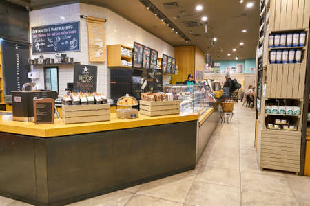 SAINT PETERSBURG, RUSSIA - CIRCA OCTOBER, 2017: inside a Starbucks coffee shop in Saint Petersburg. Starbucks Corporation is an American coffee company and coffeehouse chain.