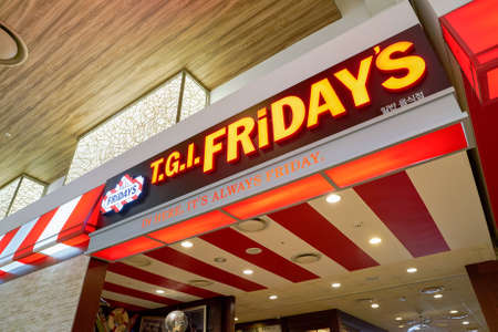 BUSAN, SOUTH KOREA - MAY 28, 2017: TGI Fridays at Lotte Department Store. TGI Fridays is an American restaurant chain focusing on casual dining. Editorial