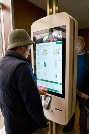 SAINT PETERSBURG, RUSSIA - CIRCA SEPTEMBER, 2017: ordering kiosk at McDonalds restaurant. McDonalds is an American hamburger and fast food restaurant chain.