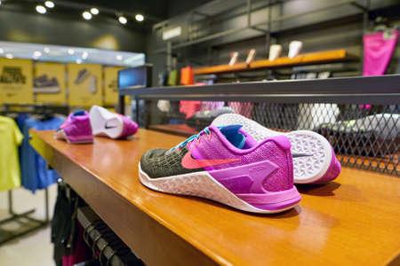 BUSAN, SOUTH KOREA - CIRCA MAY, 2017: footwear on display at Nike store. Editorial