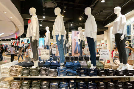BUSAN, SOUTH KOREA - MAY 28, 2017: inside Uniqlo store at Lotte Department Store in Busan. Uniqlo Co., Ltd. is a Japanese casual wear designer, manufacturer and retailer.