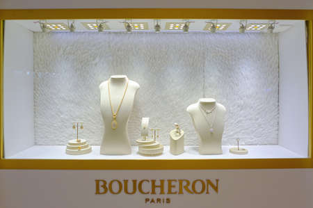 HONG KONG - OCTOBER 25, 2015: Boucheron jewellery on display. Sajtókép