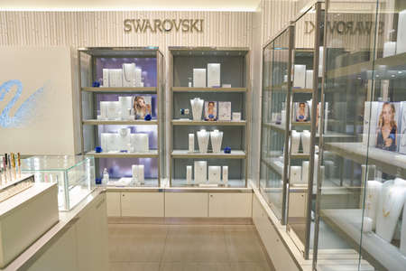 BUSAN, SOUTH KOREA - MAY 25, 2017: Swarovski store at Lotte Mall in Busan. Swarovski is an Austrian producer of crystal. Editorial