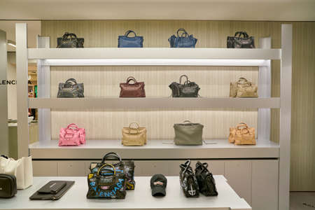 ROME, ITALY - CIRCA NOVEMBER, 2017: Balenciaga bags on display at a second flagship store of Rinascente in Rome. 報道画像