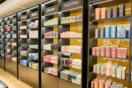 ROME, ITALY - CIRCA NOVEMBER, 2017: perfumes on display at a second flagship store of Rinascente in Rome. Editorial