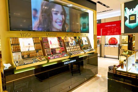 ROME, ITALY - CIRCA NOVEMBER, 2017: Dolce & Gabbana beauty products sit on display at a second flagship store of Rinascente in Rome. Dolce & Gabbana is an Italian luxury fashion house