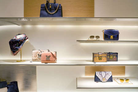 ROME, ITALY - CIRCA NOVEMBER, 2017: inside Louis Vuitton store at a second flagship store of Rinascente in Rome. Louis Vuitton is a fashion house and luxury retail company.