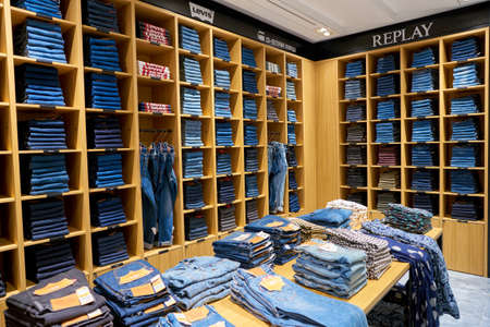 ROME, ITALY - CIRCA NOVEMBER, 2017: jeans on display at a second flagship store of Rinascente in Rome.