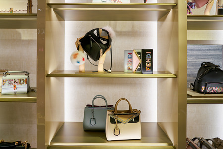 ROME, ITALY - CIRCA NOVEMBER, 2017: Fendi products sit on display at a second flagship store of Rinascente in Rome.