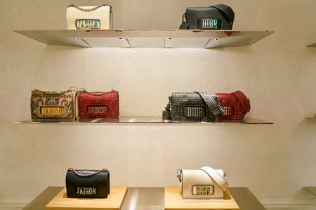 ROME, ITALY - CIRCA NOVEMBER, 2017: Dior bags sit on display at a second flagship store of Rinascente in Rome.
